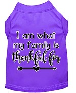 I Am What My Family is Thankful For Screen Print Dog Shirt Purple XS