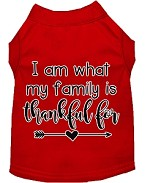 I Am What My Family is Thankful For Screen Print Dog Shirt Red XS
