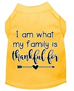 I Am What My Family is Thankful For Screen Print Dog Shirt Yellow XS