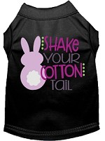 Shake Your Cotton Tail Screen Print Dog Shirt Black Med
