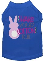 Shake Your Cotton Tail Screen Print Dog Shirt Blue Sm