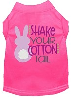 Shake Your Cotton Tail Screen Print Dog Shirt Bright Pink XS
