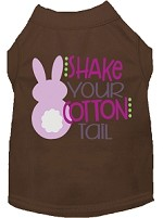 Shake Your Cotton Tail Screen Print Dog Shirt Brown Sm