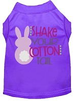 Shake Your Cotton Tail Screen Print Dog Shirt Purple Med