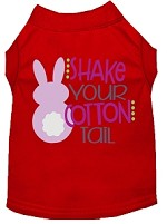 Shake Your Cotton Tail Screen Print Dog Shirt Red XS