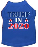 Trump In 2020 Screen Print Dog Shirt Blue Med