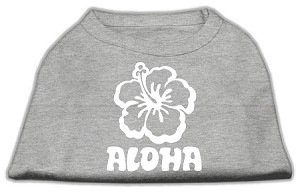 Aloha Flower Screen Print Shirt Grey Sm (10)