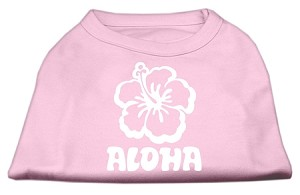 Aloha Flower Screen Print Shirt Light Pink Lg (14)
