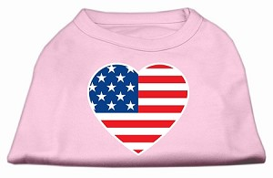 American Flag Heart Screen Print Shirt Light Pink XXXL (20)