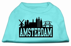 Amsterdam Skyline Screen Print Shirt Aqua XXL (18)