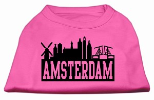 Amsterdam Skyline Screen Print Shirt Bright Pink XXXL (20)