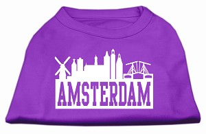 Amsterdam Skyline Screen Print Shirt Purple Med (12)