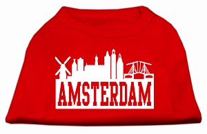 Amsterdam Skyline Screen Print Shirt Red Lg (14)
