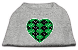 Argyle Heart Green Screen Print Shirt Grey XS (8)