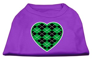Argyle Heart Green Screen Print Shirt Purple XS (8)