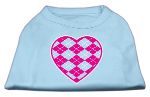 Argyle Heart Pink Screen Print Shirt Baby Blue XS (8)