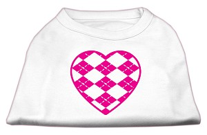 Argyle Heart Pink Screen Print Shirt White XXXL