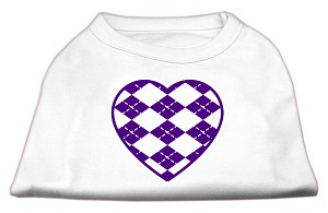 Argyle Heart Purple Screen Print Shirt White S (10)