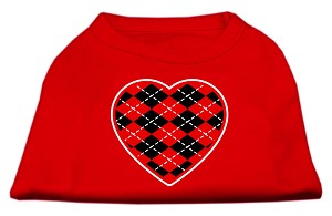 Argyle Heart Red Screen Print Shirt Red Sm (10)