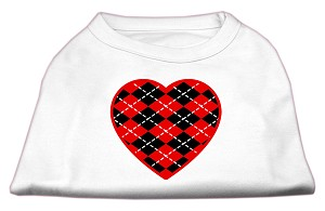 Argyle Heart Red Screen Print Shirt White L (14)