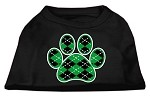 Argyle Paw Green Screen Print Shirt Black XS
