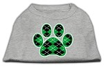 Argyle Paw Green Screen Print Shirt Grey XS