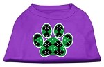 Argyle Paw Green Screen Print Shirt Purple XS