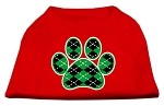 Argyle Paw Green Screen Print Shirt Red Med (12)