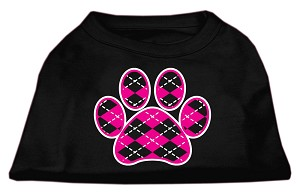 Argyle Paw Pink Screen Print Shirt Black Sm