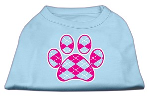 Argyle Paw Pink Screen Print Shirt Baby Blue Med (12)