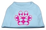 Argyle Paw Pink Screen Print Shirt Baby Blue Med
