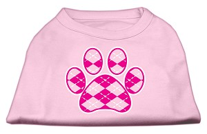 Argyle Paw Pink Screen Print Shirt Light Pink Lg