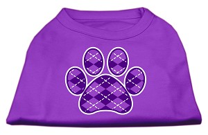 Argyle Paw Purple Screen Print Shirt Purple XXL