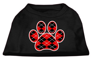 Argyle Paw Red Screen Print Shirt Black Lg (14)