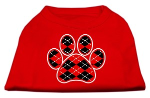 Argyle Paw Red Screen Print Shirt Red Lg (14)