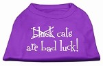 Black Cats are Bad Luck Screen Print Shirt Purple XS (8)