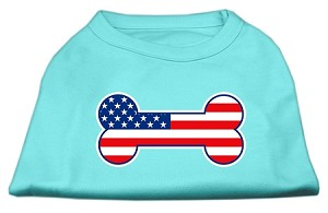 Bone Shaped American Flag Screen Print Shirts Aqua XXL (18)