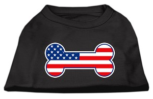 Bone Shaped American Flag Screen Print Shirts Black XXXL(20)