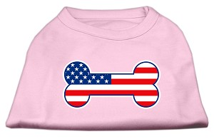 Bone Shaped American Flag Screen Print Shirts Light Pink XL (16)