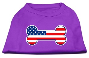 Bone Shaped American Flag Screen Print Shirts Purple XS