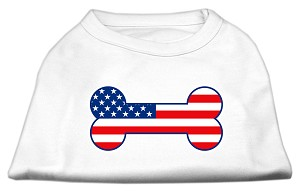 Bone Shaped American Flag Screen Print Shirts White XS