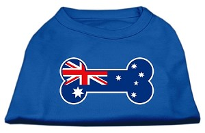 Bone Shaped Australian Flag Screen Print Shirts Blue Lg (14)