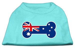 Bone Shaped Australian Flag Screen Print Shirts Aqua XXL (18)