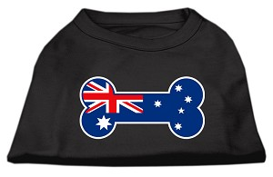 Bone Shaped Australian Flag Screen Print Shirts Black S