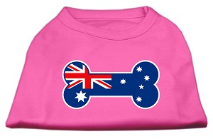 Bone Shaped Australian Flag Screen Print Shirts Bright Pink XXXL(20)
