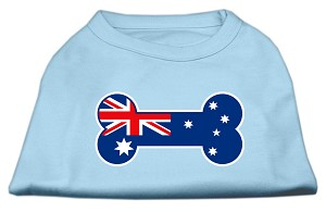 Bone Shaped Australian Flag Screen Print Shirts Baby Blue XL (16)