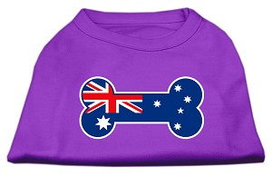 Bone Shaped Australian Flag Screen Print Shirts Purple M