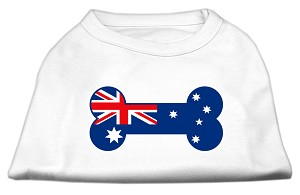 Bone Shaped Australian Flag Screen Print Shirts White XS (8)