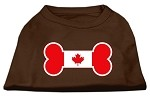 Bone Shaped Canadian Flag Screen Print Shirts Brown Med