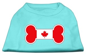 Bone Shaped Canadian Flag Screen Print Shirts Aqua XS (8)